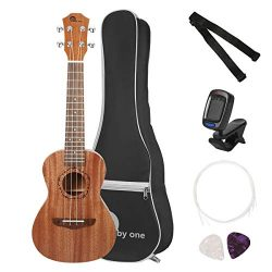 "1byone 23"" Concert Mahogany Ukulele with Included Digital Tuner, 3 Picks, Strap, and Black ..."
