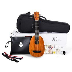 Enya Pineapple Soprano Ukulele 21 Inch Beginner Kit, HPL and Mahogany Neck – With Bundle Include ...