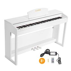 LAGRIMA 88 Keys Weighted Action Digital Piano with Bluetooth & MP3 Function, 2 Headphone/Mid ...
