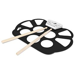 Flexzion Digital Electronic Roll Up Drum Pad Set Kit – Portable Foldable Silicone Sheet 9  ...