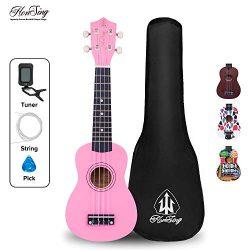 Honsing Kids Ukulele,Soprano Ukulele Beginner,Hawaii kids Guitar Uke Basswood 21 inches with Tun ...
