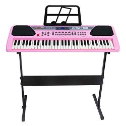 iMeshbean 61 Key Music Electronic Keyboard Electric Digital Piano Organ w/Stand Optional (Pink k ...