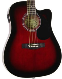 Jameson Guitars Full Size Thinline Acoustic Electric Guitar with Free Gig Bag Case & Picks R ...