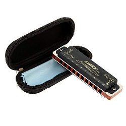 East top Harmonica Key of C 10 Hole 20 Tone Diatonic Blues Harmonica Mouth Organ with Case Top G ...