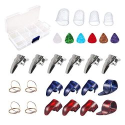 Guitar Accessories Kit Including 18pcs Finger Pick Thumb Pick Set Guitar Picks 6 Pcs Guitar Pick ...