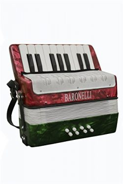 Baronelli Red, White and Green Beginner Educational 17 Key Junior Accordion with adjustable Stra ...