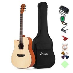 Donner Left Handed Acoustic Guitar Cutaway DAG-1CL 41 inch Full-size Beginner Guitar Package wit ...