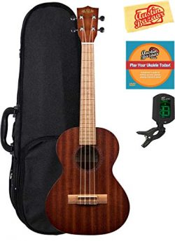 Kala KA-15T Satin Mahogany Tenor Ukulele Bundle with Hard Case, Tuner, Austin Bazaar Instruction ...