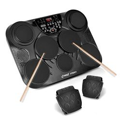 PylePro Portable Drums, Tabletop Drum Set, 7 Pad Digital Drum Kit, Touch Sensitivity, Wireless E ...