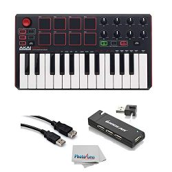 Akai Professional MPK MINI MK2 MKII | 25-Key Ultra-Portable USB MIDI Drum Pad & Keyboard Con ...