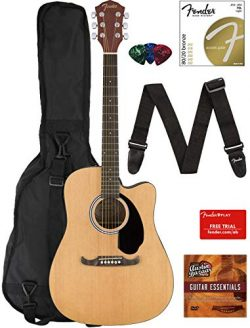 Fender FA-125CE Dreadnought Cutaway Acoustic-Electric Guitar – Natural Bundle with Gig Bag ...