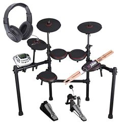 Carlsbro CSD180 8-Piece Enhanced Electronic Drum Kit with Over-Ear Stereo Headphones – Pai ...