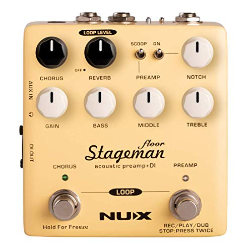 NUX Stageman Floor Acoustic Preamp/DI Pedal with Chorus, Reverb,Freeze and 60 seconds Loop for A ...