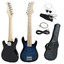 Smartxchoices 30″ Mini Kids Blue Electric Guitar Bundle Kit Bass Guitar for Beginners with ...
