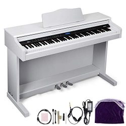 Happybuy White Digital Piano 88-Key Electric Piano Keyboard w/ 3-Pedal Board Music Stand Slide C ...