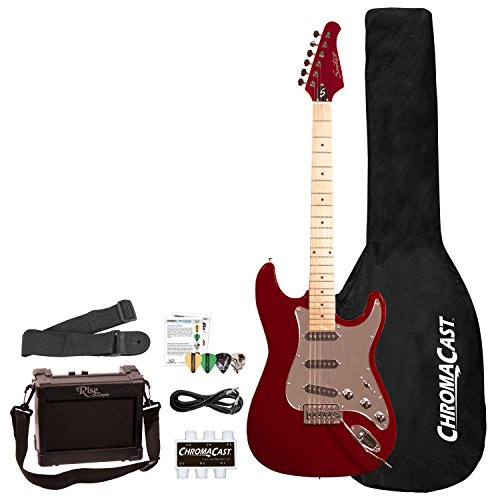 Sawtooth 6 String ES Series ST Style Electric Guitar Beginner's Pack, Fire Brick Red with  ...