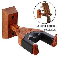 Ukulele Wall Mount, Auto Lock Ukulele Hanger, Hard Wood Base Ukulele Hangers For Wall, Ukulele/V ...