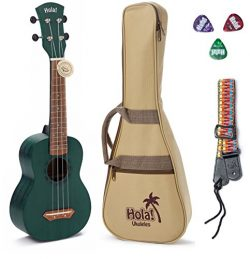 Hola! Music HM-121BU+ Deluxe Mahogany Soprano Ukulele Bundle with Aquila Strings, Padded Gig Bag ...