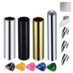 Activists 14Pcs Guitar Slides Kit 3Pcs Metal Slides, 1Pcs Chrome Stainless Steel Bar Guitar Lap  ...