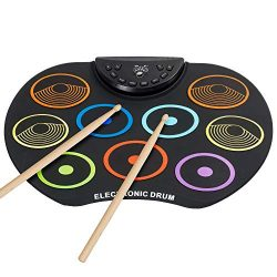 Irokimusic Flexible, Completely Portable Electronic Drum Set, Roll Up Drum Practice Pad with Hea ...