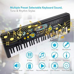 Digital Piano Kids Keyboard – Portable 61 Key Piano Keyboard, Learning Keyboard for Beginn ...