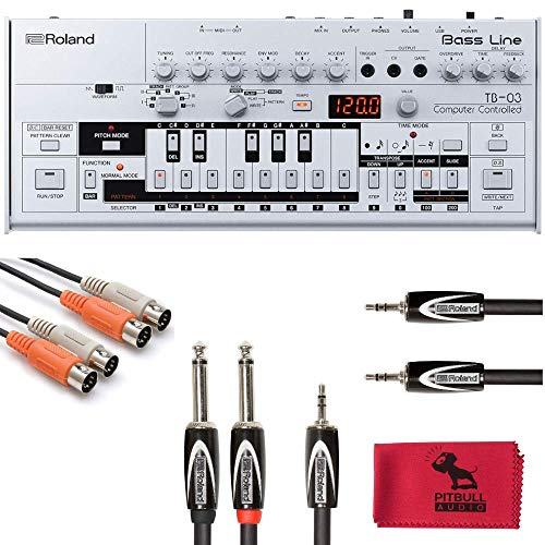 Roland Boutique TB-03 Bass Line Synthesizer Cable Bundle with PitbullAudio Microfiber Cloth