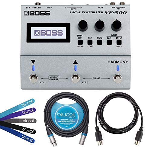 BOSS VE-500 Vocal Performer Multi-Effects Pedal Bundle with Blucoil 5-Ft MIDI Cable, 10-Ft Balan ...