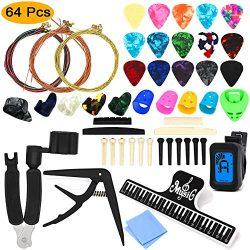 64 PCS Guitar Accessories Kit, ZALALOVA All-in 1 Guitar Tool Changing Kit Including Guitar Picks ...