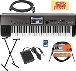 Korg KROME-EX 61-Key Music Workstation Keyboard & Synthesizer Bundle with Keyboard Stand, SD ...