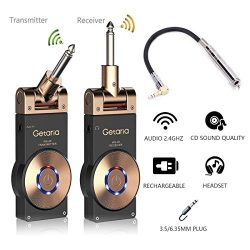 Getaria Wireless Guitar System Rechargeable Digital Transmitter Receiver Set for Electric Guitar ...
