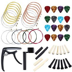 Auihiay 52 Pieces Guitar Accessories Kit Include Acoustic Guitar Strings, 4 Gauges Guitar Picks, ...
