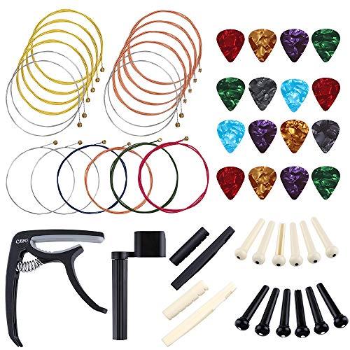 auihiay 52 pieces guitar accessories kit include acoustic guitar strings 4 gauges guitar picks. Black Bedroom Furniture Sets. Home Design Ideas