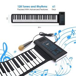 Roll Up Piano Folding Portable Keyboard | 61Keys | Music Gifts for Women Men Girl Boys Kids | Ed ...