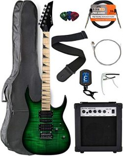 Vault RG1-E Nebula Green Burst Electric Guitar with Maple Neck Bundle with Gig Bag, 10w Amp, Str ...