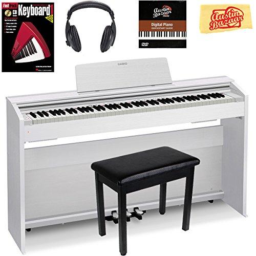 Casio Privia PX-870 Digital Piano – White Bundle with Furniture Bench, Headphones, Instruc ...