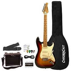 Sawtooth 6 String Solid-Body Electric Guitar Right Handed, Sunburst/Vanilla Cream ST-ES-SBVC-BEG-KIT