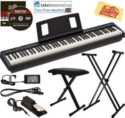 Roland FP-10 Digital Piano Bundle with Adjustable Stand, Bench, Sustain Pedal, Online Lessons, I ...