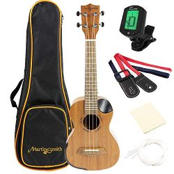 Martin Smith Soprano Ukulele Starter Kit with Aquila Strings – Includes Online Lessons, Tuner, B ...