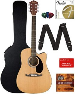 Fender FA-125CE Dreadnought Cutaway Acoustic-Electric Guitar – Natural Bundle with Hard Ca ...