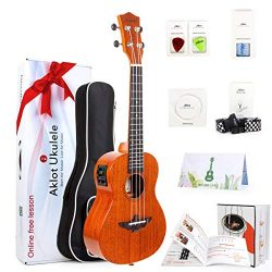 AKLOT 26 Electric ukulele Electric Acoustic Tenor Ukulele Solid Mahogany Ukelele 26″ Begin ...