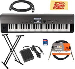 Korg KROME-EX 88-Key Music Workstation Keyboard & Synthesizer Bundle with Keyboard Stand, SD ...