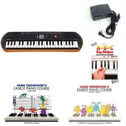 Casio SA76 44 Keys 100 Tones Keyboard bundle with Casio Power Supply, Three Part John Thompson&# ...