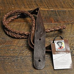 Lakota Leathers Mandolin Strap Round Braid 43 Inch Chocolate