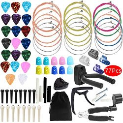 Outee Guitar Accessories Kit, 77 Pcs Guitar String Changing Kit Guitar Tools Strings Picks Capo  ...