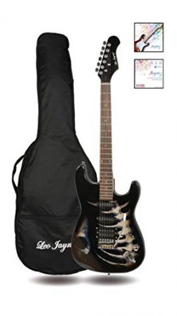 39″ Full Size ST Style Electric Guitar – Black Skull Sticker Graphic Design –  ...