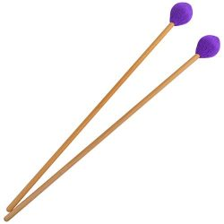 Yolyoo Medium Hard Yarn Head Keyboard Marimba Mallets with Maple Handles,Pack of 2 Purple