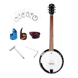 ADM 6-String Banjo 24 Bracket with Closed Solid Wood Back, Banjo Beginner Kit with Picks and Ext ...