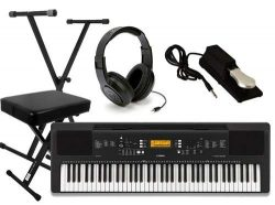 Yamaha PSR-EW300 Ultimate Portable Keyboard Package with Headphones, Stand,Bench, and Sustain Pedal