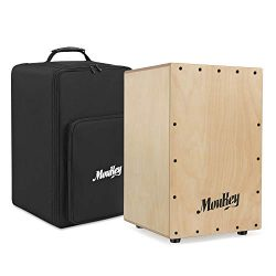 Moukey Full Size Cajon Drum DCD-1 Wooden Drum Box Birchwood Percussion Internal Metal Strings wi ...