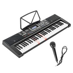 LAGRIMA 61-Key Electronic Keyboard Piano w/Light-Up Keys for Beginner(Kid/Adult), Lighted Portab ...